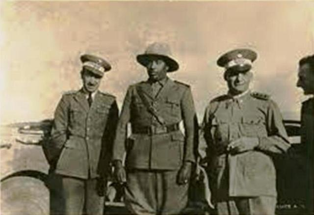 abdissa aga in uniform with foriegn soldiers