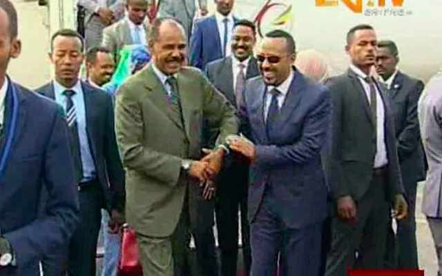 abiy ahmed laughing with isaias afwerki