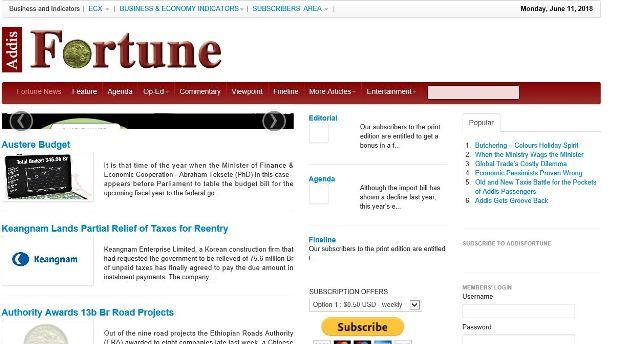 addis fortune website homepage
