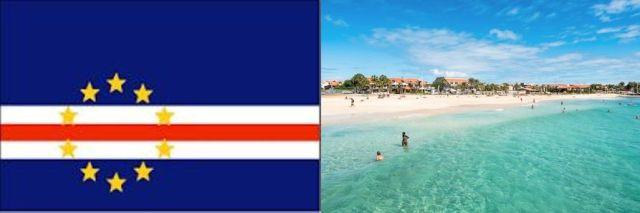 flag of cape verde and beach