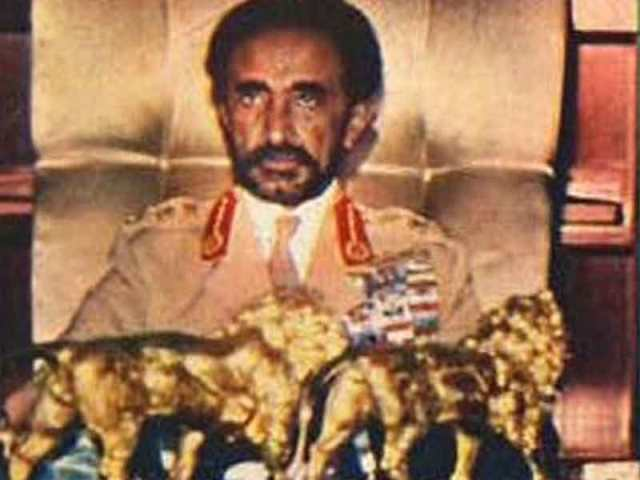 emperor haile selassie sitting with golden lions