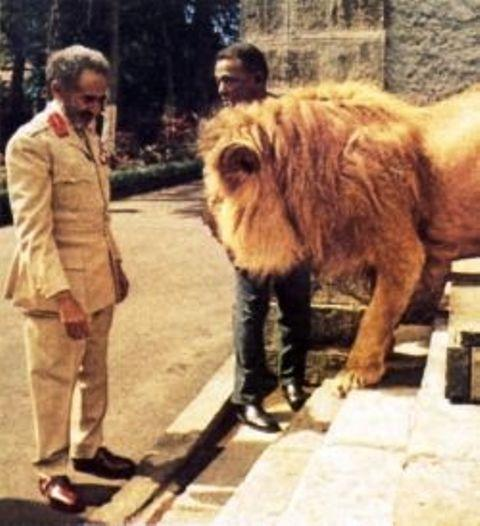 emperor haile selassie with a lion