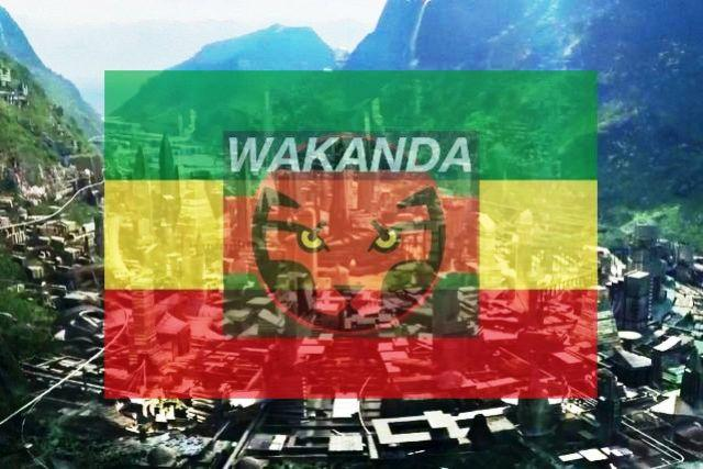 ethiopian flag on wakanda logo and city of black panther