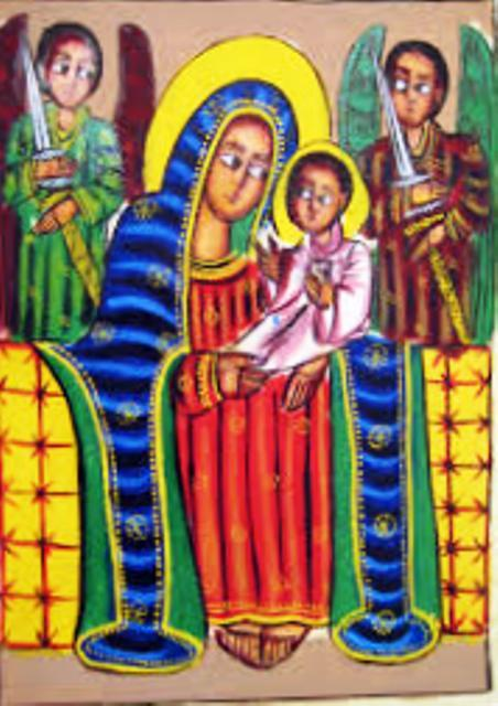 ethiopian paintings mariam with angels child