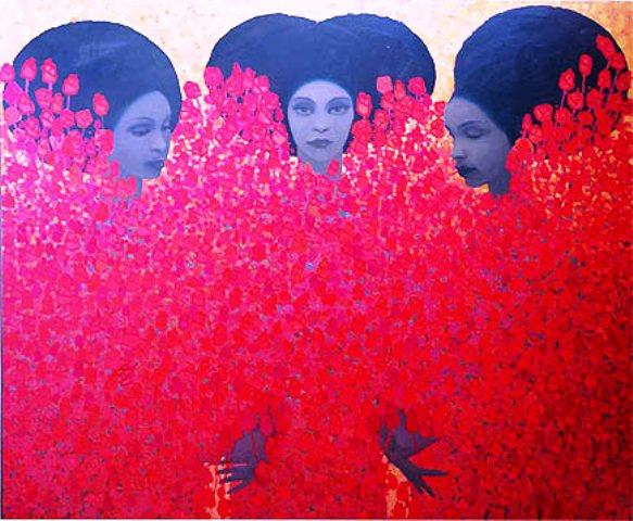 ethiopian paintings modern woman flowers