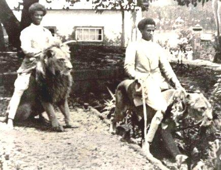 ethiopians riding lions