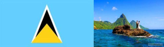 saint lucia flag nd marriage on rock