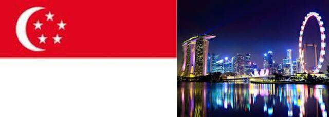 flag of singapore and city
